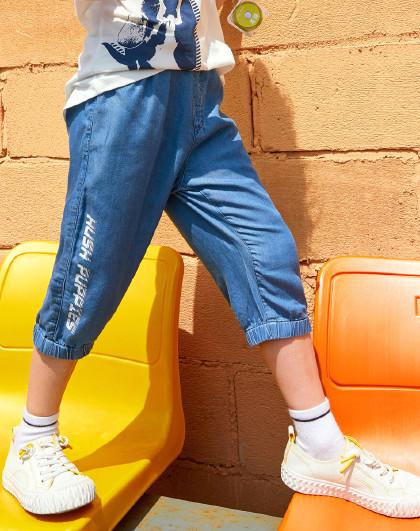 暇步士 21年夏装新款儿童短裤牛仔短裤七分裤男童短裤运动短裤