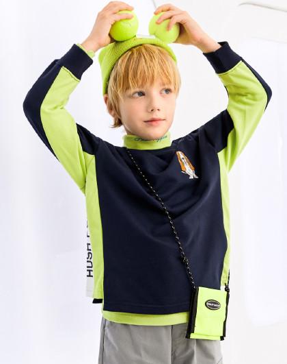 暇步士 春装新款儿童卫衣T恤男童卫衣拼接套头运动卫衣