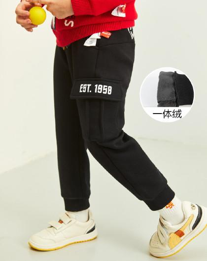 【80-130】新款春秋装一体绒长裤男童长裤工装风束口加绒运动裤