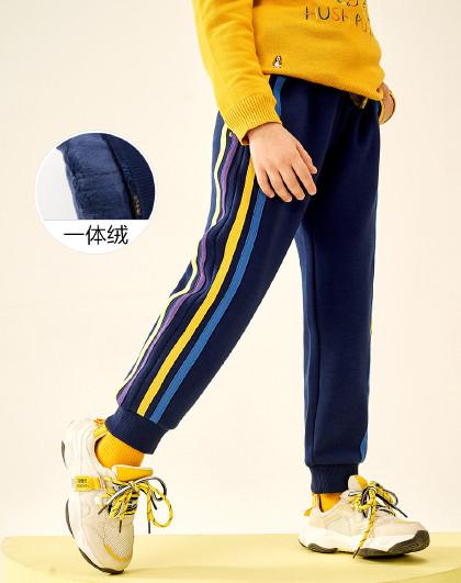 新款春秋装一体绒长裤男童长裤炫彩织带拼接束口加绒运动裤