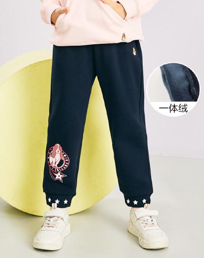 新款春秋装儿童加绒长裤女童长裤收口运动裤
