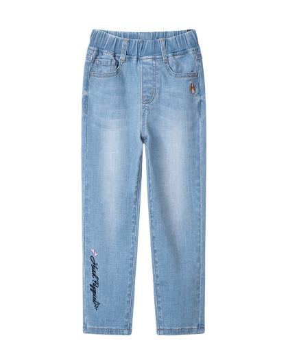 21年新款春装儿童长裤女童长裤弹力水洗单层牛仔裤