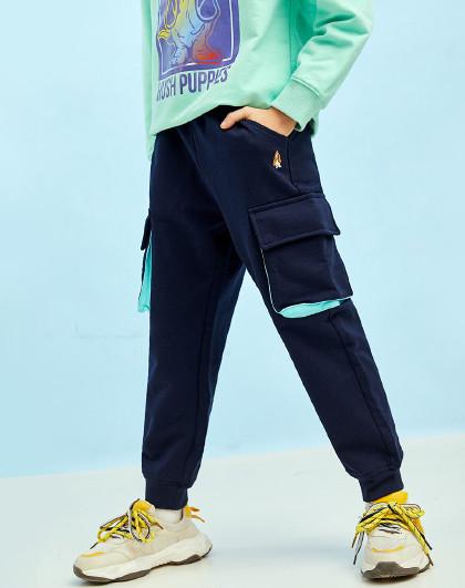 21年新款春装儿童针织长裤男童长裤工装风立体口袋全棉运动裤