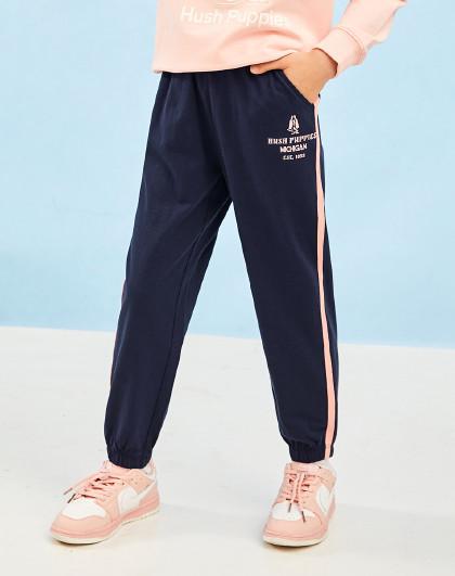 21年新款春装针织长裤男童女童长裤撞色织带装饰全棉运动裤