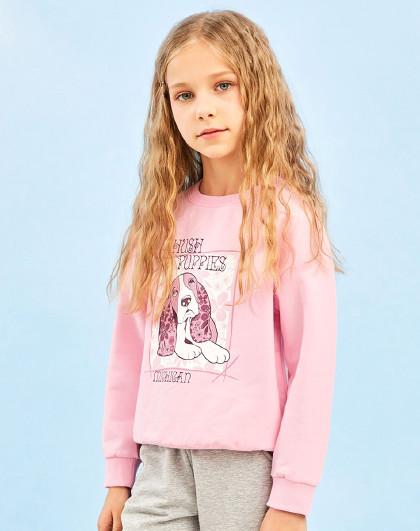 暇步士 21年新款春装儿童卫衣女童卫衣圆领套头运动卫衣
