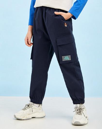 21年新款春夏装儿童梭织长裤男童工装收口运动长裤