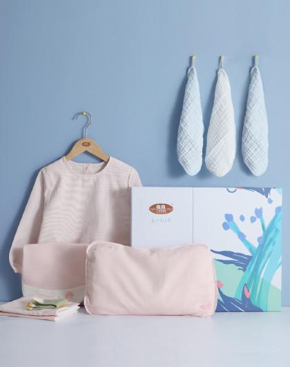 婴儿礼盒新生儿成长8件套0-3岁宝宝苎麻护型枕隔尿垫