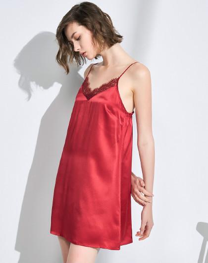 MEIBIAO 美标夏100%桑蚕丝睡衣丝绸蕾丝红色结婚性感吊带女士真丝睡裙