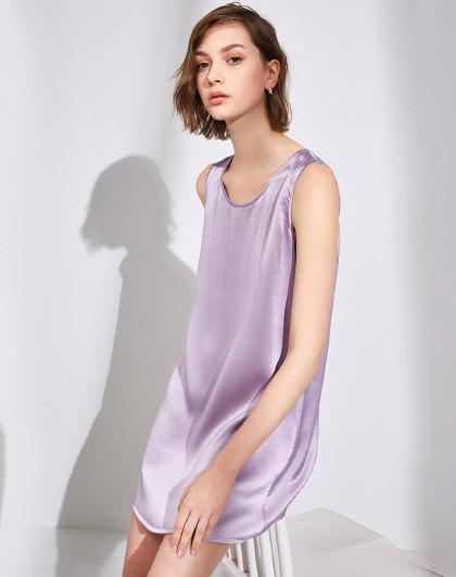 MEIBIAO 美标夏季新款女性感无袖真丝睡裙桑蚕丝可外穿睡衣纯色性感家居服