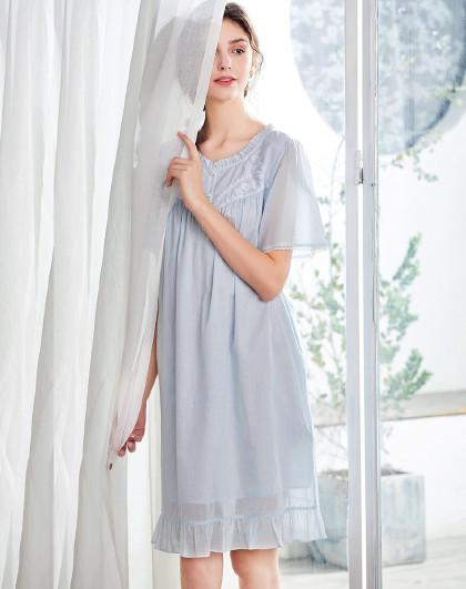 MEIBIAO 美标短袖春夏薄款全棉质双层棉纱睡衣性感蕾丝家居服女士纯棉睡裙