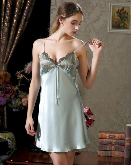 MEIBIAO 美标冰丝家居服薄丝绸100%桑蚕丝睡衣性感女士真丝吊带睡裙