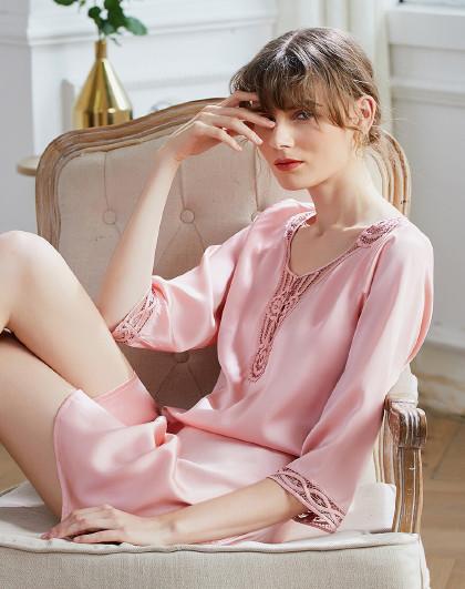 MEIBIAO 美标女士夏季重磅100%桑蚕丝睡衣春秋季丝绸性感中袖真丝睡裙