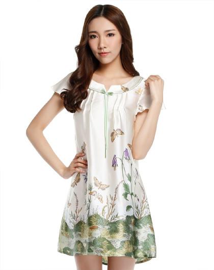 MEIBIAO 美标夏季公主短袖睡衣100%桑蚕丝丝绸宽松家居服女士真丝睡裙