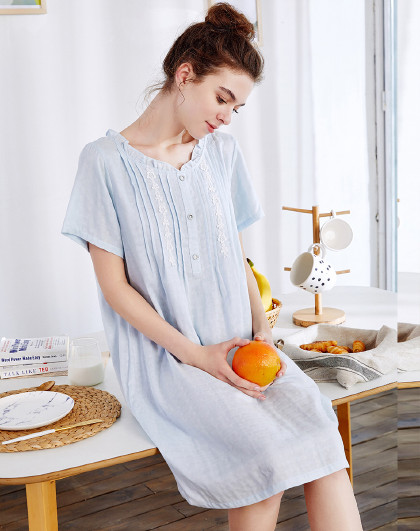 MEIBIAO 美标新款薄款短袖睡衣春夏公主风棉质蕾丝家居服睡裙女