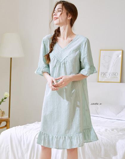 MEIBIAO 美标新款短袖纯棉睡裙女春夏薄款公主风可爱甜美睡衣全棉质家居服