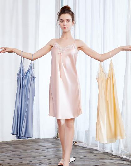 MEIBIAO 美标100%桑蚕丝重磅吊带蚕丝睡衣夏性感情趣内衣女士真丝睡裙