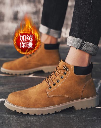 红蜻蜓  冬季加绒男工装靴马丁靴男鞋英伦风低帮厚底增高男靴