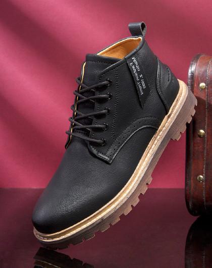 红蜻蜓  春季男鞋工装休闲鞋英伦风低帮厚底增高男鞋