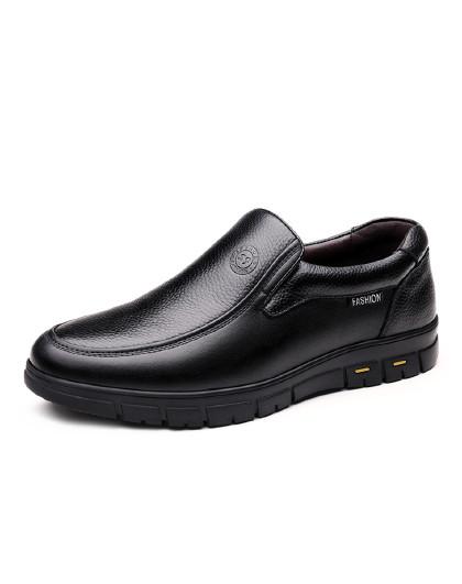 富贵鸟 皮鞋男透气套脚软底软面男士商务休闲皮鞋中老年爸爸鞋正装皮鞋男