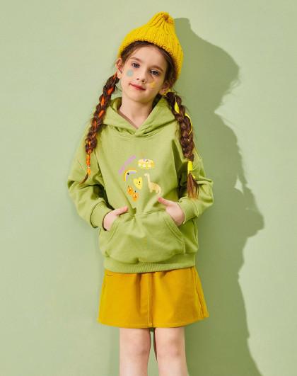 巴帝巴帝 【女童卫衣】巴拉巴拉旗下儿童卫衣21春装套头甜美连帽卫衣