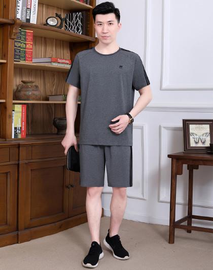 2021夏季新品男士运动套装中老年套装男式t恤透气爸爸装两件套