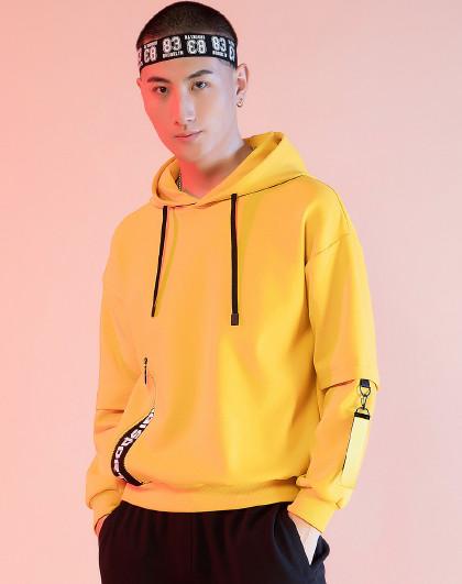 【拼接时尚】赛琪运动卫衣男新款连帽套头衫宽松中国风