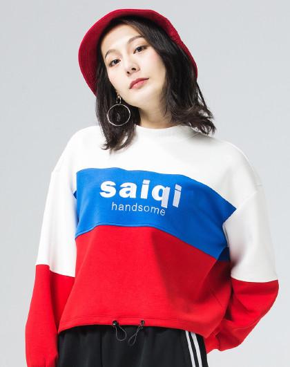 【短款时尚】赛琪女子连帽卫衣 冬季新款生活休闲印花logo卫衣