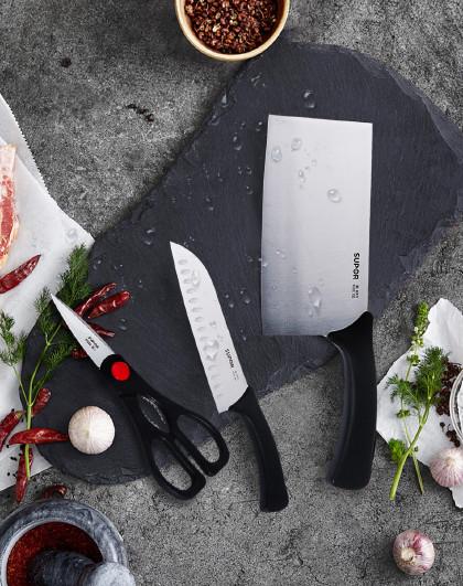 苏泊尔 T1310E利刃系列三件套切片刀不锈钢多用刀剪具刀具组合