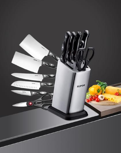 苏泊尔 锋刃系列不锈钢七件套TK1505E 菜刀砍骨刀剪刀水果刀刀具