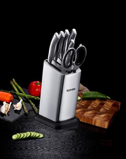 苏泊尔 精钢系列七件套厨房菜刀TK1506E水果刀厨房剪刀切菜刀套装刀具