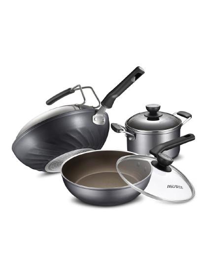 爱仕达 炒汤煎三件套金刚旋风套装锅油你控少油烟不粘锅锅具套装
