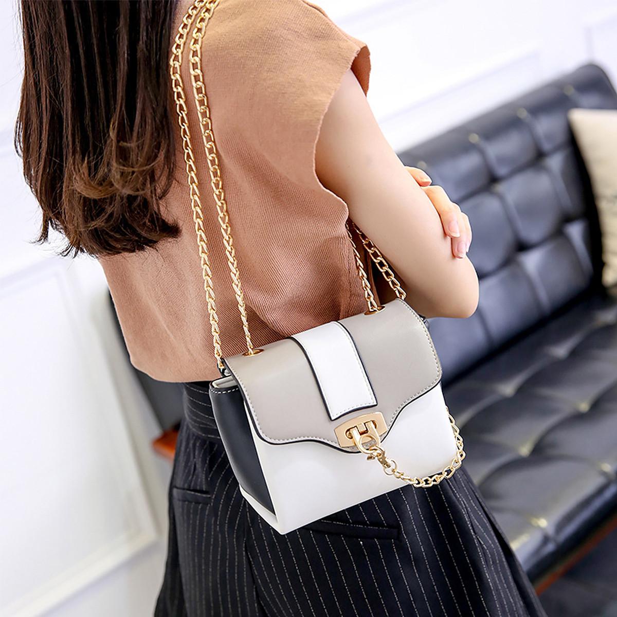 蒙娜丽莎 2019新款包包金属链条小方包潮流单肩包斜挎包