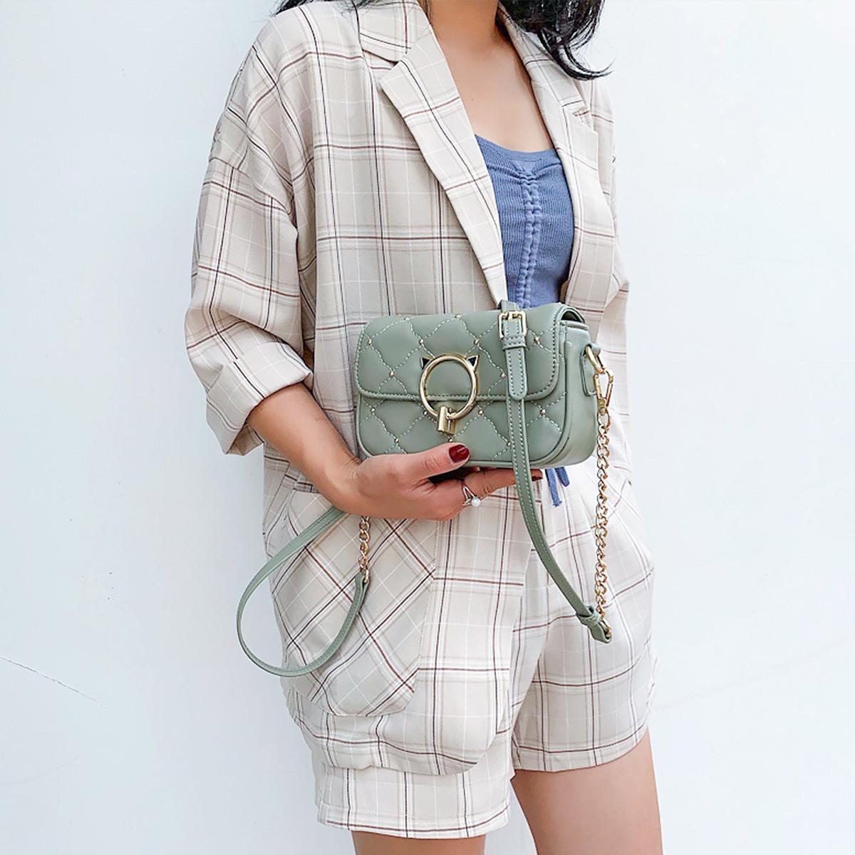 蒙娜丽莎 【专柜同款】时尚减龄百搭菱格包女包单肩包斜挎包小方包