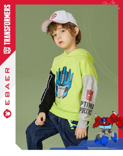 一贝皇城 童装男童连帽卫衣2021春装新款儿童变形金刚印花上衣洋气