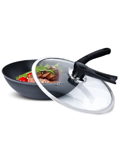 乐扣乐扣 韩国工艺精铁无涂层带玻璃盖电磁炉燃气通用炒锅铁锅