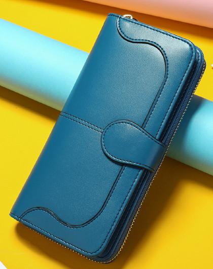 韩版复古真皮钱夹长款男女手拿包多功能皮夹钱包