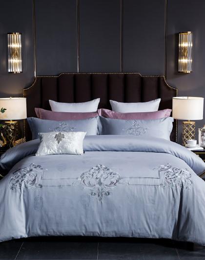 轻奢床品贡缎绣花纯色全棉被套被单套件秋冬床上用品纯棉四件套