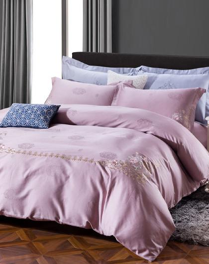 全棉简约绣花四件套被套全棉套件纯色床上用品纯棉四件套