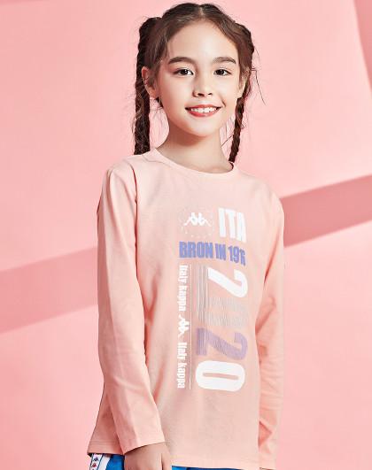 卡帕儿童 春秋季男女时尚基础运动休闲T恤