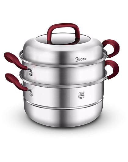 美的 家用三层加厚复底304不锈钢蒸锅多功能通用炊具蒸笼ZG26G03