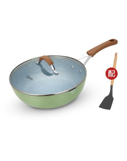 美的 28CM麦饭石厚底不粘锅均匀速热煎炒锅燃磁通用炒锅CJ28Wok309