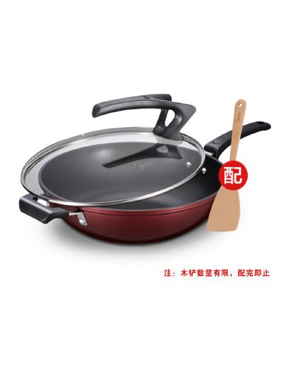 美的 32cm不粘锅厚底少油烟可立盖燃气电磁炉通用炒锅CL32T1