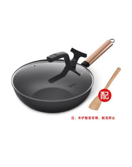 美的 30cm不粘锅炒菜厚底少油烟煎炒可立锅盖燃气电磁炉通用30T1