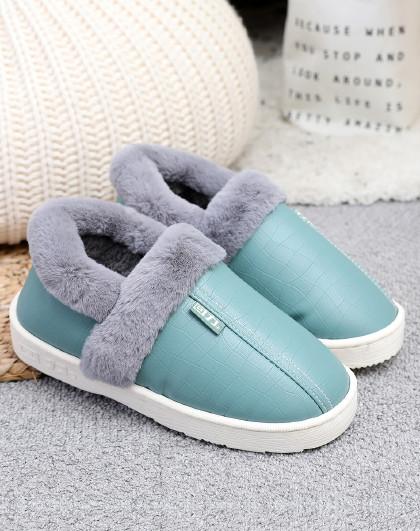 回力 冬季防水防滑保暖包跟室内情侣款家居拖鞋男女款毛绒棉拖