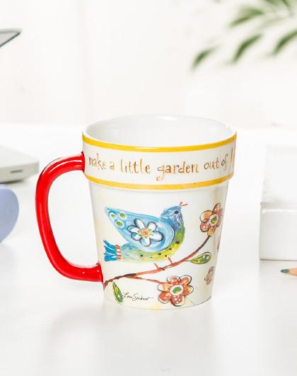 430ML美式复古陶瓷马克杯花盆杯水杯女ins风小清新陶瓷杯
