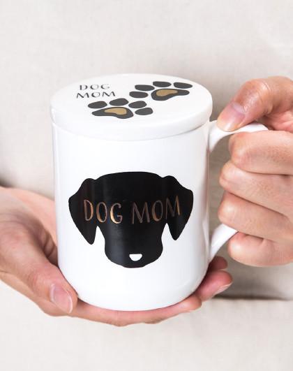带盖陶瓷杯马克杯萌宠咖啡杯水杯350ML