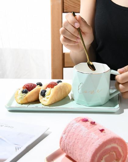 陶瓷马克杯带勺带把创意咖啡杯办公室水杯小清新杯子260ML