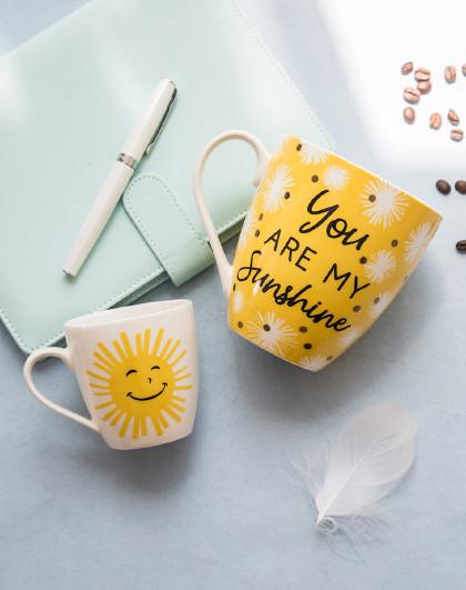 爱屋格林 陶瓷杯马克杯咖啡杯阳光母子对杯550ML/250ML