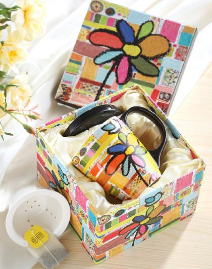 日式花茶杯带盖茶水分离简约茶杯办公室杯子女家用送礼水杯礼盒