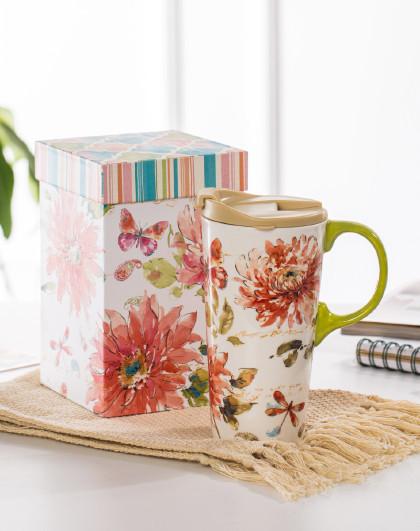 ins风大容量办公室水杯女家用陶瓷马克杯带盖陶瓷杯子礼盒送人